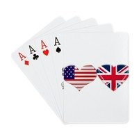 USA and UK Heart Flag Playing Cards