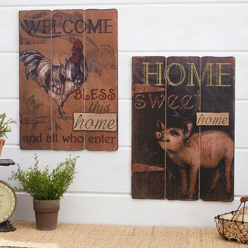 Farmhouse Wall Art Signs Rooster Welcome Home or Pig Home Sweet Home Rustic