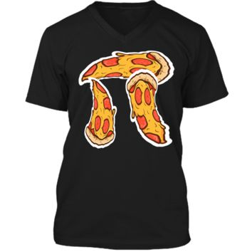 Pi Day Shirt kids Pizza Pi Funny Math Food 3.14 Distressed Mens Printed V-Neck T