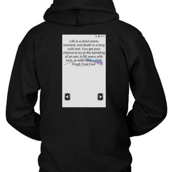 ONETOW Pink Floyd Quote Screenshoot Hoodie Two Sided