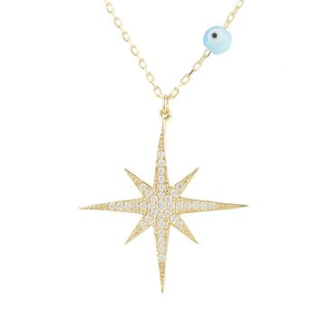 The Aldebaran, A Handmade 22CT Yellow Gold Starburst Opalite Evil Eye Necklace