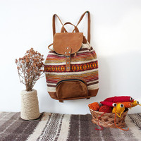 Unique handmade backpack - brown leather and yellow brownish handwoven textile