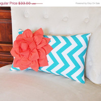 MOTHERS DAY SALE Pillows, Decorative Throw Pillows, Lumbar Pillow, Cushions, Coral and Turquoise Pillow Baby Nursery Decor