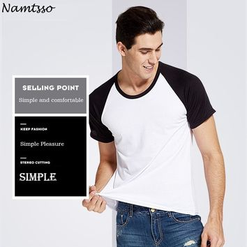Men's Spring/Summer Polyester-Cotton Solid color underwear clothing close-fitting short sleeve Relax strench O neck undershirts
