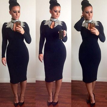 Formal Bodycon Long Sleeve Evening Round Neck Prom Party Dresses One Pieces New Fashion Women Dress Clothes Maxi Chiffon Costume