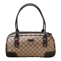 Gucci Crystal Princy Brown Boston Bag Handbag 293594