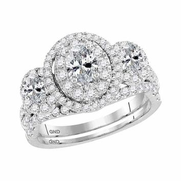 14kt White Gold Women's Oval Diamond 3-Stone Bridal Wedding Engagement Ring Band Set 1-1-2 Cttw - FREE Shipping (US/CAN)