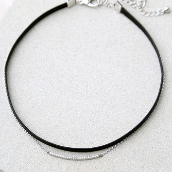 Care For You Black and Silver Layered Choker Necklace