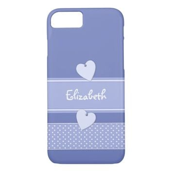 Purple polka dots, Barely There iPhone 7 Case