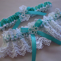 Garter set, lace garter set, Tropic blue garter set