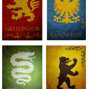 All 4 Harry Potter Hogwarts House Banners prints movie posters minimalist poster slytherin hufflepuff ravenclaw gryffindor