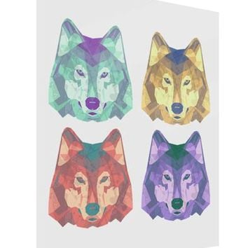 Geometric Wolf Head Pop Art Gloss Poster Print Portrait - Choose Size by TooLoud