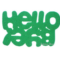 "Original design doormat. Custom mat / rug with double message ""Hello / Bye"". Green."