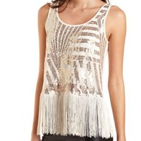Fringe-Trim Sequin Tank Top by Charlotte Russe - Ivory Combo