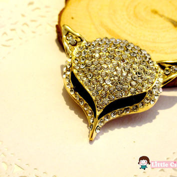 1 pc 53mm Bling Gold Crystal Large Fox Head Luxury Alloy 3D Charm Craft Art DIY Cell Phone Case Cabochon deco DCR