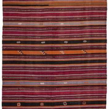 Handmade  Unique Striped Over Dyed Kilim Rug 5'6'' x 10'4'' ft 168 x 315 cm  (Free Shipping)