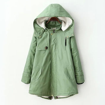 Green Hooded Long-Sleeve Button Pocket Coat