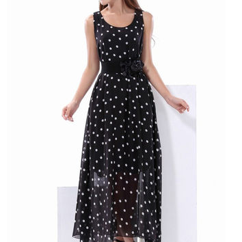 Black Polka Dot Sleeveless Floral Belted Chiffon Maxi Dress