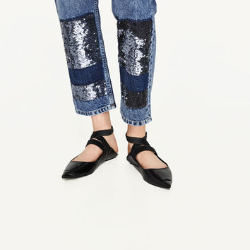 MID RISE JEANS WITH SEQUINS - NEW IN-WOMAN | ZARA United States