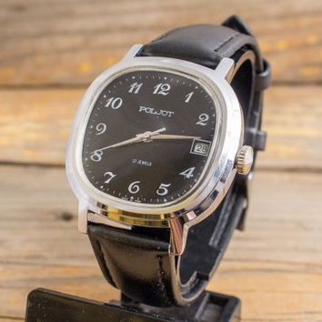Vintage Poljot mens watch with date window and black dial, vintage russian watch, ussr cccp