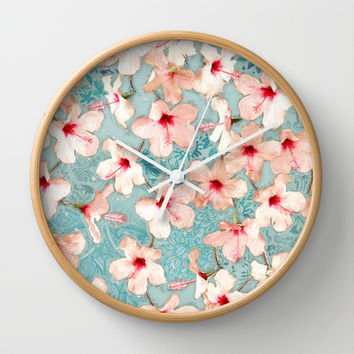 Shabby Chic Hibiscus Patchwork Pattern in Peach & Mint Wall Clock by Micklyn