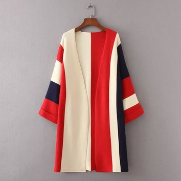 Cardigan Winter Long Sleeve V Neck Patchwork Sweater Women Casual Knitted Coat Loose Long Cardigans