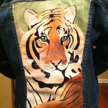 Hand Painted Tiger Denim Jacket
