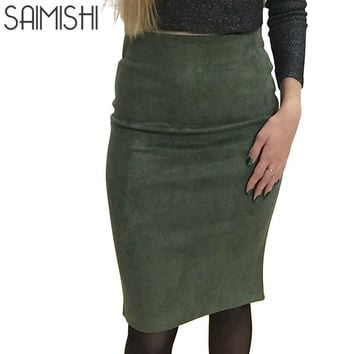 Super Deals Fashion Women Suede Solid Color Pencil Skirt Female Spring Autumn Basic High Waist Bodycon Split Knee Length Skirts