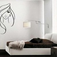 Beautiful Sexy Girl Long Wavy Hair Earring Art Decor Wall Mural Vinyl Decal Sticker M421