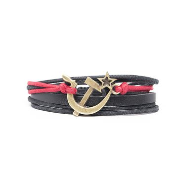 Communist Hammer and Sickle Rope and Leather Adjustable Unisex Charm Bracelet