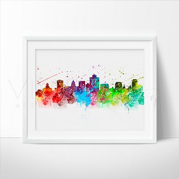 Salt Lake City Skyline Watercolor Art Print