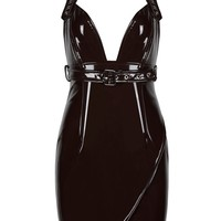 'Iskira' Glossy Latex Bustier Dress - Black