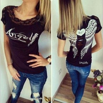 DCCKH3F Angel wings Lace T-shirt printing
