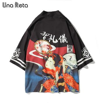 Una Reta Japanese style Printed Kimono Casual Cardigan Jackets Fashion Men 2018 New Mens Hip-hop Style Jacket Coats Streetwear