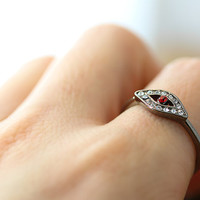 1piece Evil Eye Ring Dark Silver Plated Women's Red Blue Eye crystal Ring Jewelry gift idea