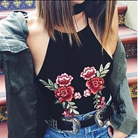 Embroidery Flower Halter Vest Tank Top Camisole