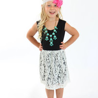 Spring Black and White Lace Dress