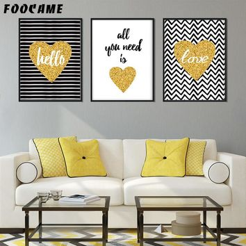 FOOCAME Cartoon Love Gold Posters and Prints Art Canvas Painting Modern Home Decoration Wall Pictures For Living Room