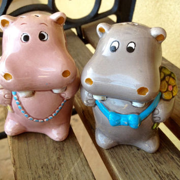 Hippo Salt and Pepper Shakers, Salt & Pepper Shakers Novelty, Ceramic Boy Girl Hippos, Hippo Lover, Hippo Gift, Gift For Her, Hippo Decor