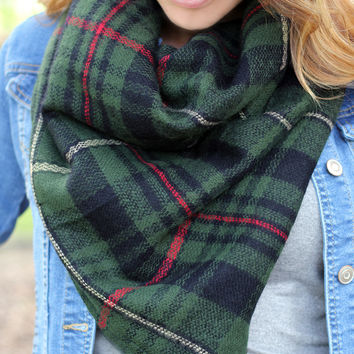Harvest Plaid Infinity Scarf Green