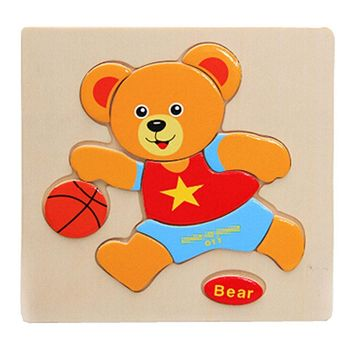 Lovely Cartoon Animal Jigsaw Puzzle Infant Toy Puzzle Building Block, Bear