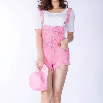 DKF4S 2018 New Summer Women Denim Overalls Ladies Pink Vintage Loose Solid Hole Black Overall Jeans Denim Shorts Female Above Knee