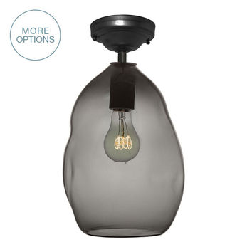 Bubble Smoke Grey Hand Blown Glass Pendant Light- Flushmount