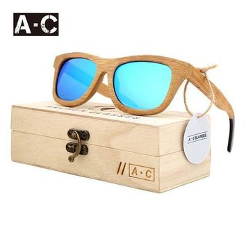 ESBG8W A.C 2017 New fashion Products Men Women Glass Bamboo Sunglasses au Retro Vintage Wood Lens Wooden Frame Handmade ZG03
