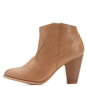 BAMBOO CHUNKY HEEL WESTERN ANKLE BOOTS