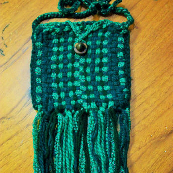 Green Handwoven Fringe Hip Bag, Card, Rune, or Dice Pouch - SCA, Medieval or Renaissance Fair Purse - Long for Cross Body - ONE of A KIND