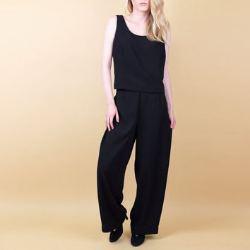 90s black crop top matching pants / cropped sleeveless blouse / draped wide leg pants / Vintage 1990s minimalist outfit pantsuit