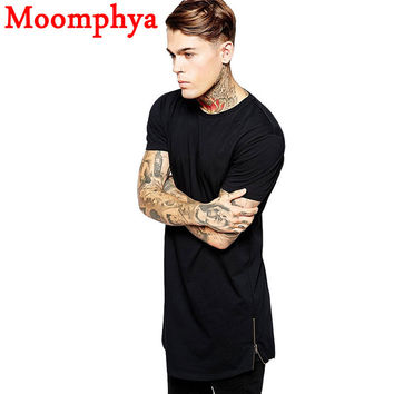 Long Size Black Mens Tops T Shirt Short Sleeve Casual T-Shirt With Zip Hip Hop T Shirt Fashion street-wear Shirt dance