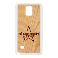 Carved on Wood Effect_Celebrity Hater White Silicon Rubber Case for Galaxy Note 4 by Chargrilled