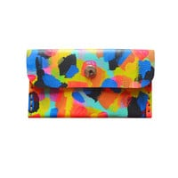 Colorful Abstract Art Wallet, Hand Painted Pattern Card Holder, Pouch | Boo and Boo Factory - Handmade Leather Jewelry